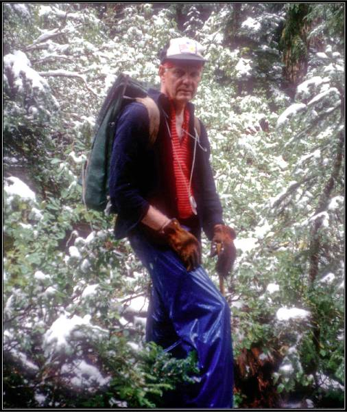 Vic Cohrs hiking in the snow, 1990